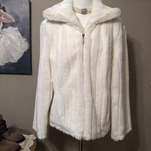 Braetan White Faux Fur Coat Jacket